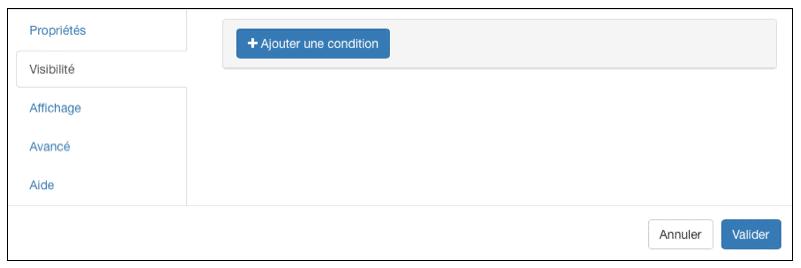 Configuration des options de visibilité.