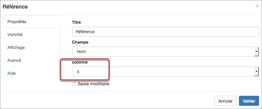 Paramétrez autant de champs références que de colonnes présentes dans votre document.