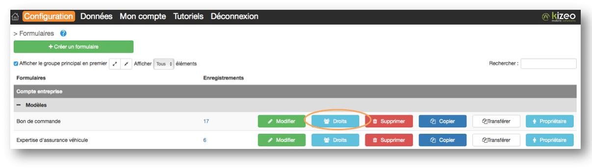 Cliquez sur le bouton Droits pour configurer votre formulaire.