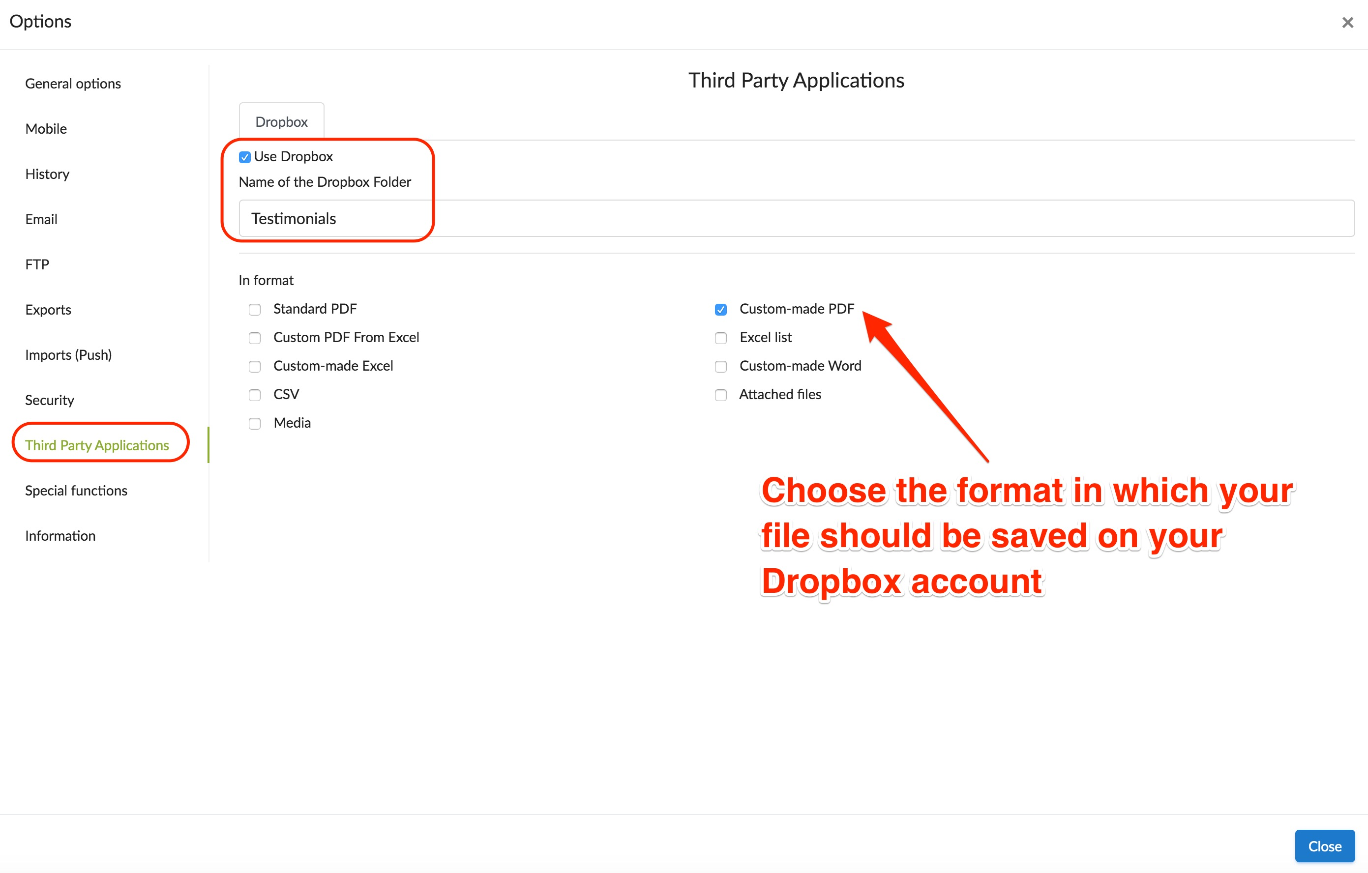 dropbox file format and folder