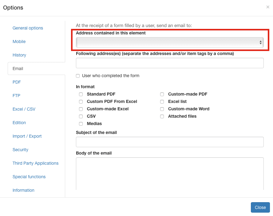 Email address contained in a field settings.