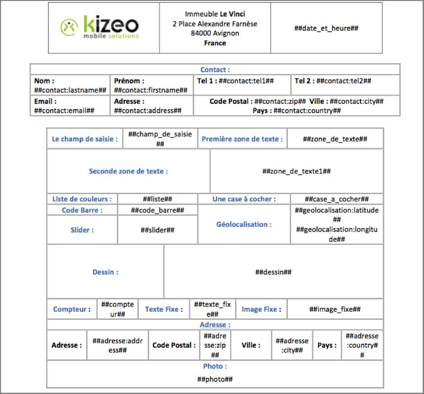 Exemple de document Word Personnalisé configuré avec les balises Kizeo Forms.