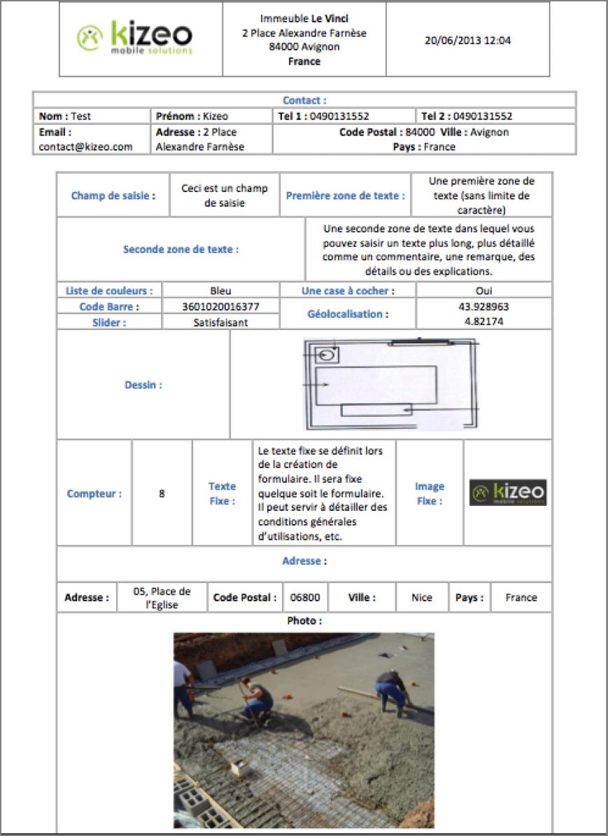 Exemple de document Word Personnalisé Kizeo Forms.