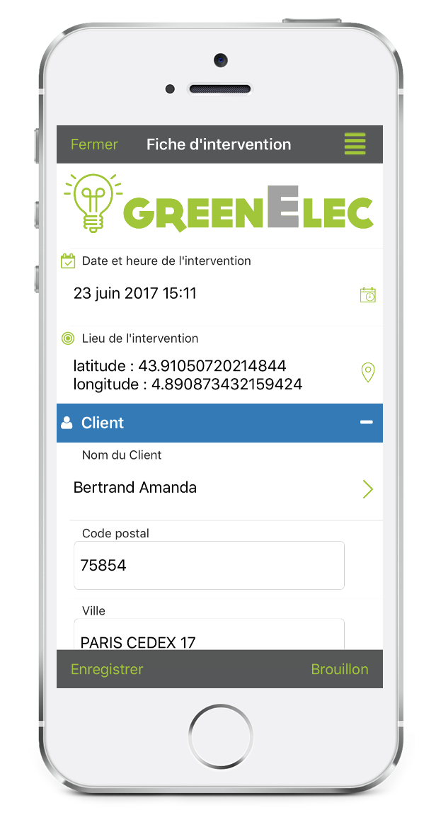 Formulaire Fiche d'intervention sur mobile avec Kizeo Forms.