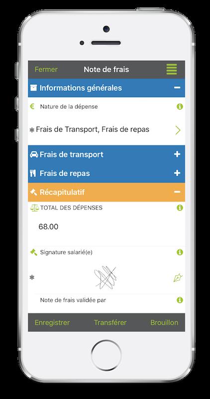 Formulaire de Note de frais sur mobile avec Kizeo Forms.