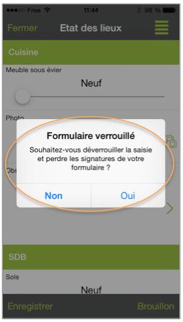 Aperçu sur le mobile du formulaire verrouillé.