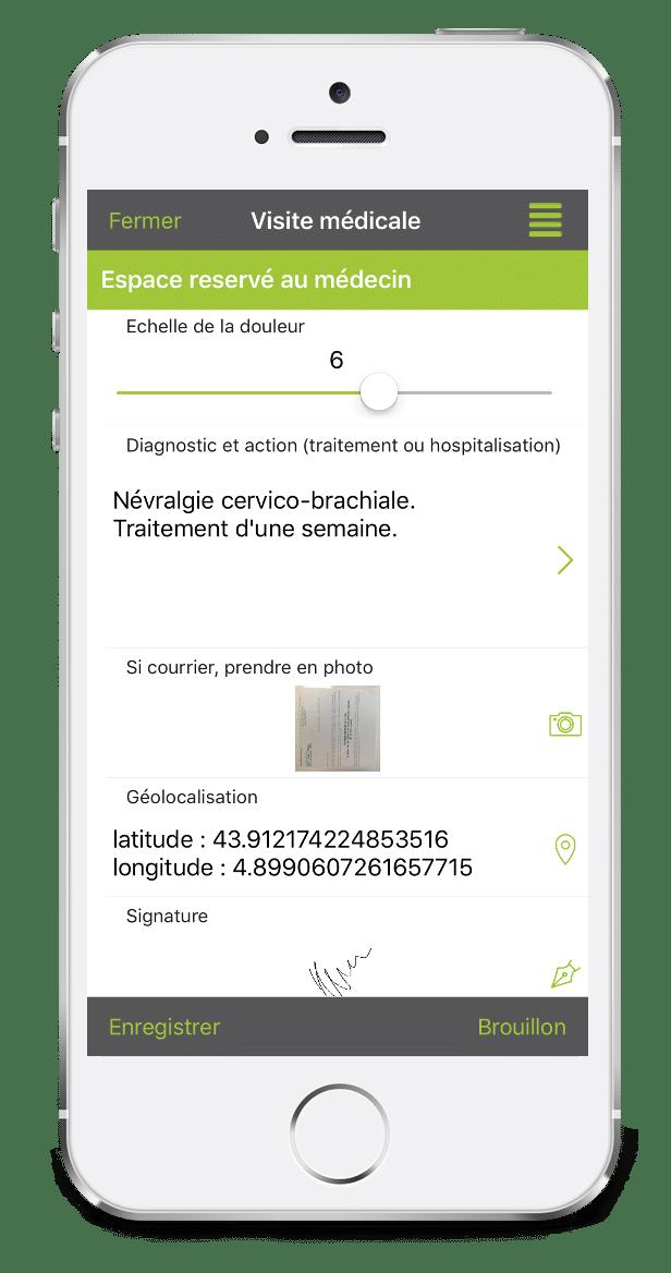 Formulaire de Visite médicale à domicile sur mobile avec Kizeo Forms.