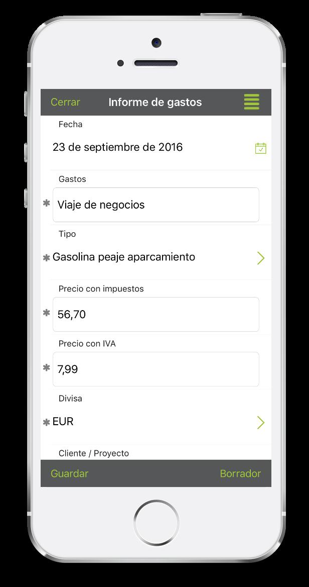 Formulario de notas de gasto con el móvil con Kizeo Forms