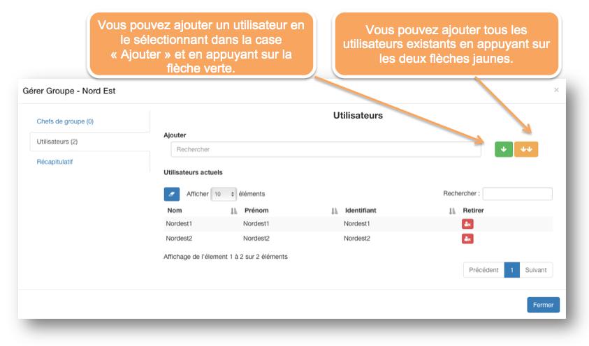Vous pouvez ajouter ou retirer des utilisateurs à votre groupe d'utilisateurs.