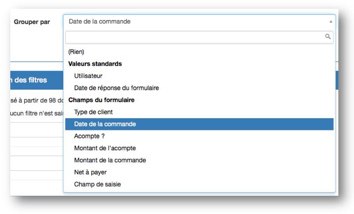 Sélectionnez la variable de votre formulaire avec laquelle vous souhaitez regrouper vos données.