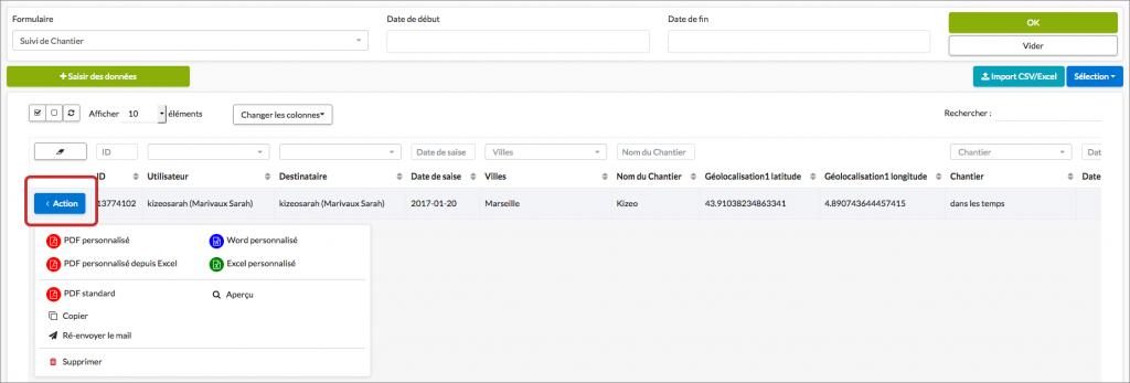 Exportez vos données au format souhaité.