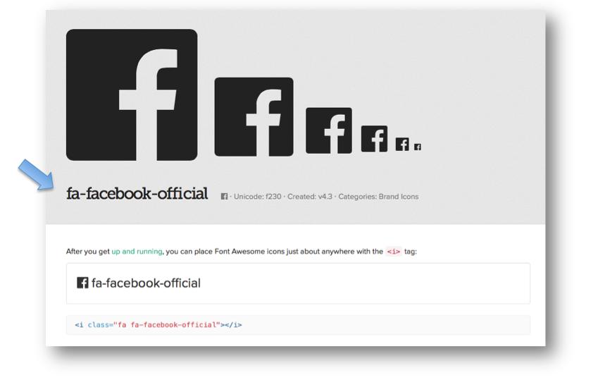 Notez le code correspondant à l'icône qui commence par « fa-».