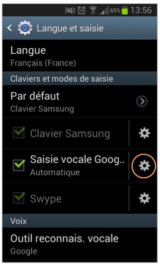Cliquez sur l'icône de paramétrage de Saisie vocale Google.