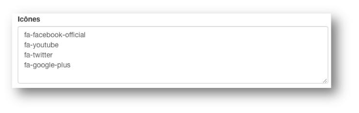 Remplissez le champ « Icônes » avec les codes des icônes souhaitées.