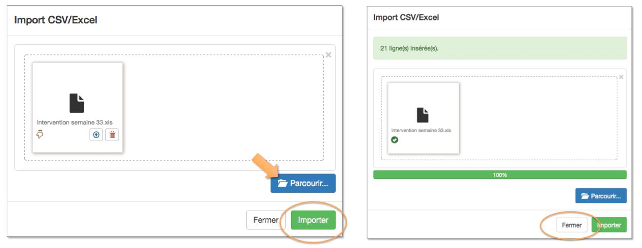 """Cliquez sur """"Parcourir"""" pour insérer votre fichier Excel."""