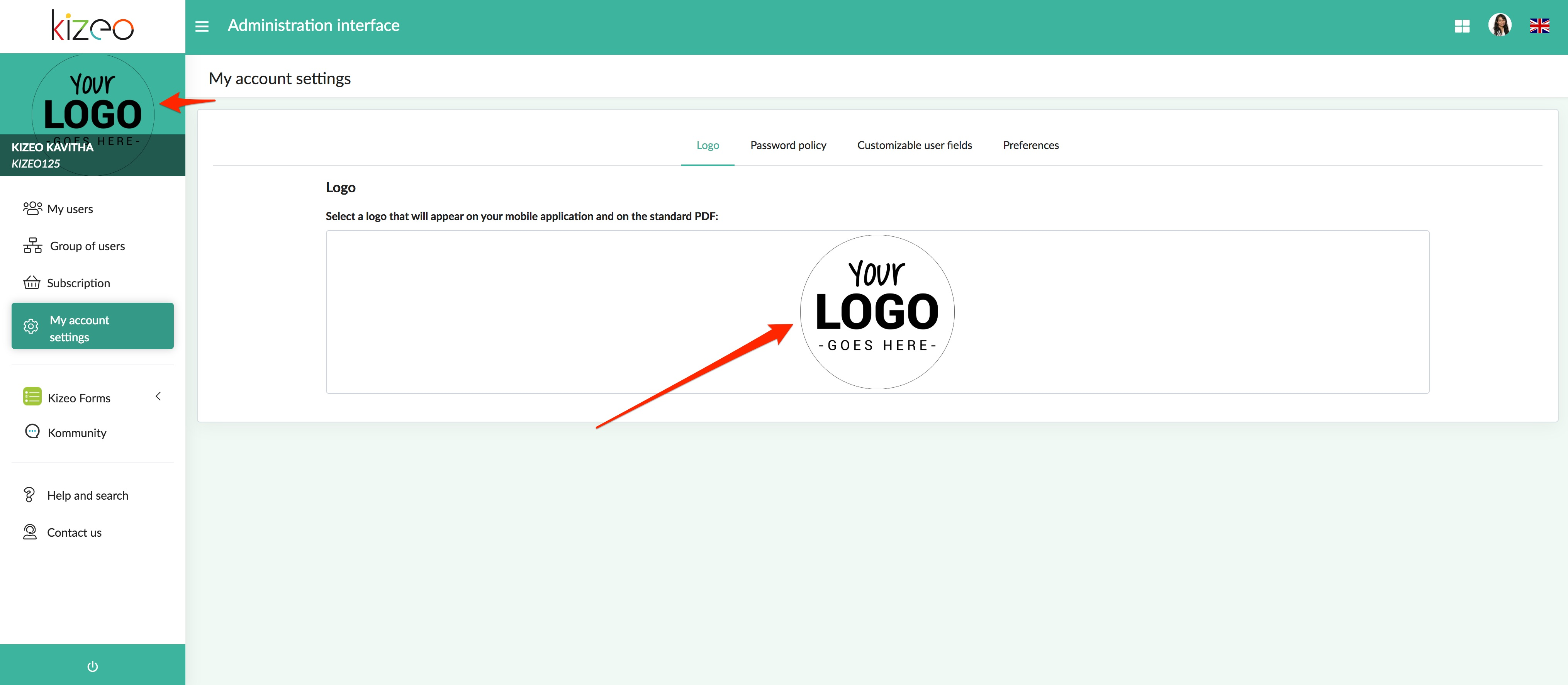 import your logo on the Kizeo Forms application