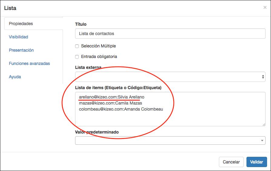 Definir una lista de contactos con códigos.