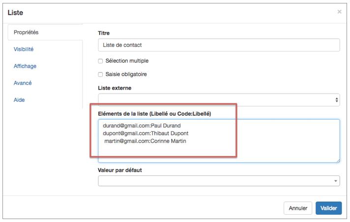 Définissez une liste de contacts avec un Code.