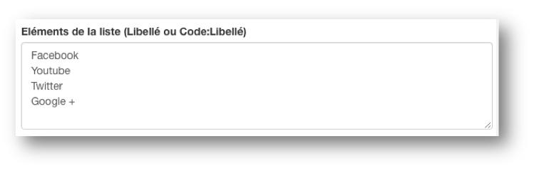 Remplissez le champ « Eléments de la liste (Libellé ou Code:Libellé) ».