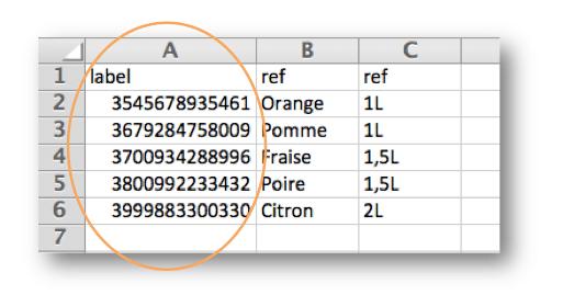 Création de la liste référentielle associée à un code barre.