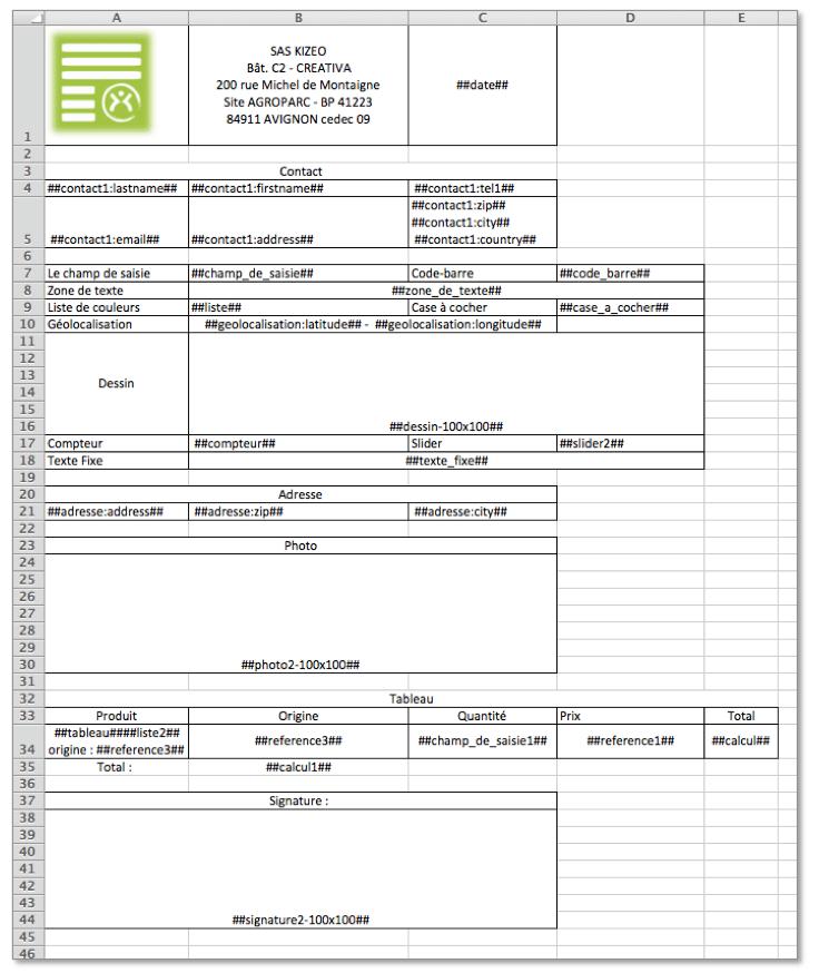 Exemple de document Excel personnalisé.