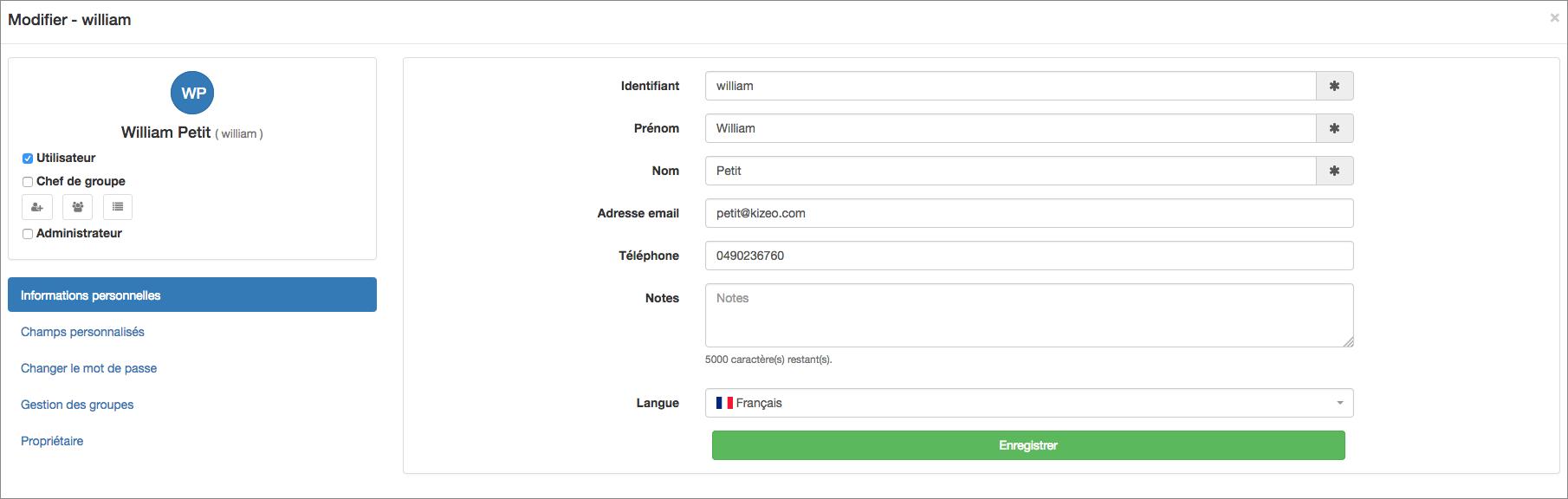 cliquer sur valider et continuer en modification afin d'aller encore plus loin dans la configuration du profil de votre utilisateur