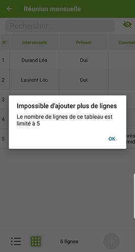 Message d'alerte sur le mobile quand le nombre de lignes du tableau n'est pas respecté.