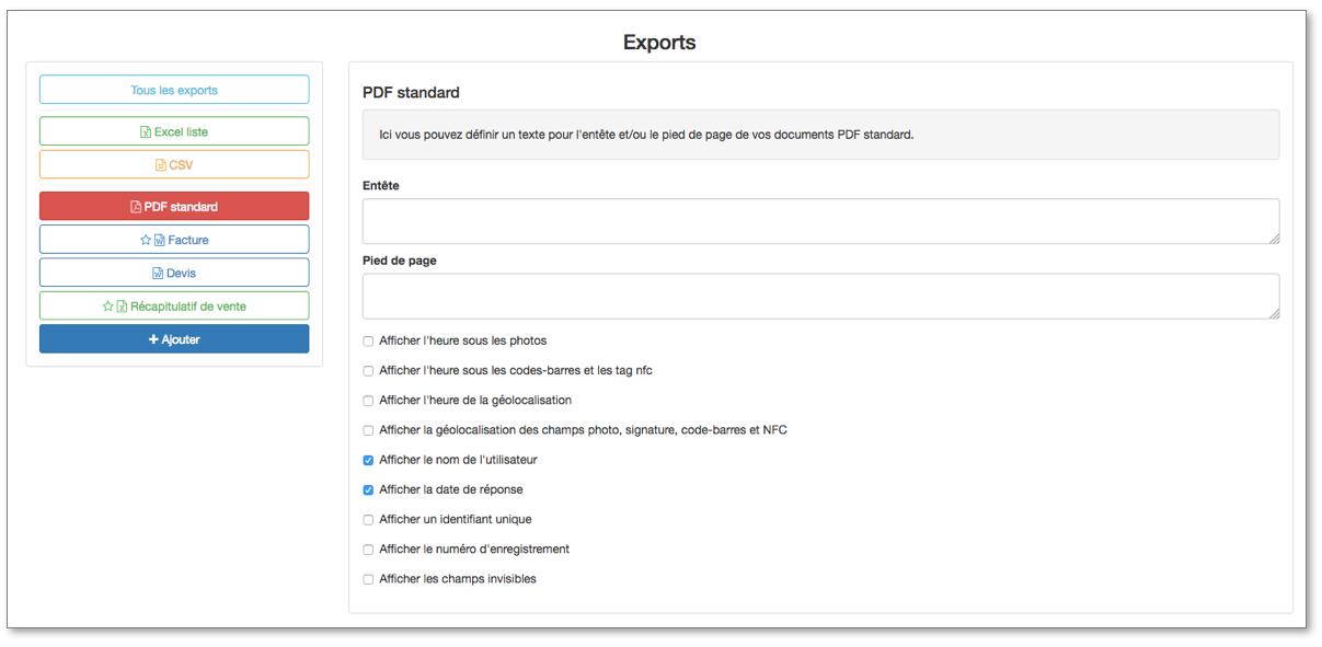 Configurez les options de votre PDF Standard.