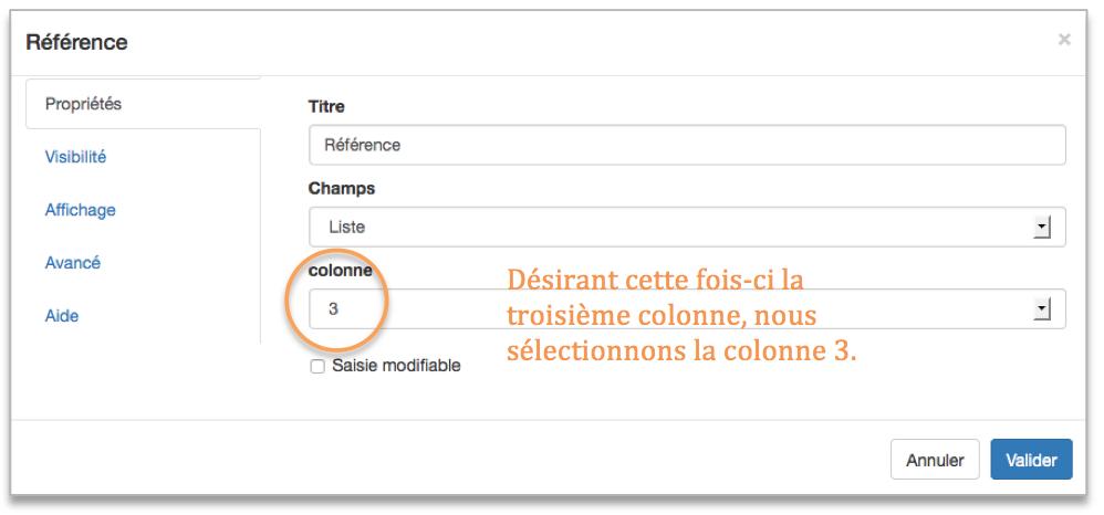 Paramétrage du champ référence.