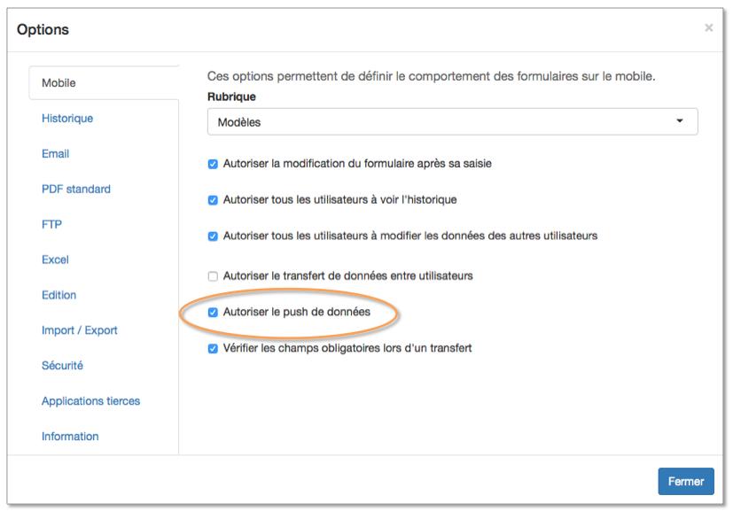 Vous pouvez autoriser le push de données dans les options de votre formulaire.