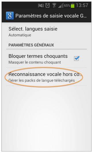Choisissez « Reconnaissance vocale hors co. »