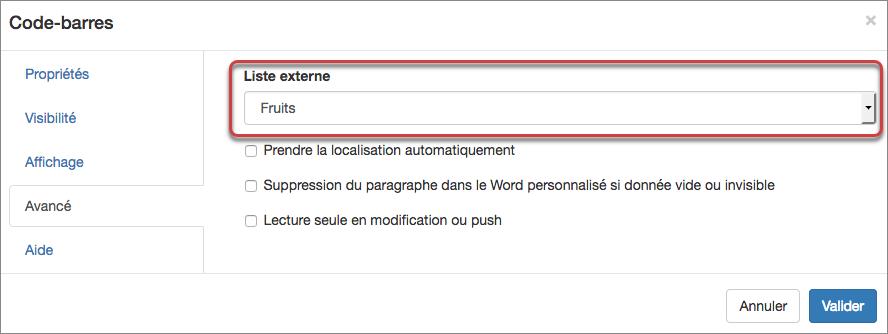 Sélection de la liste externe dans les propriétés du champ code-barres.