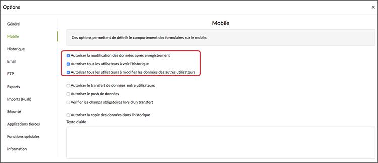 Configurez le comportement de votre formulaire lors de la Recherche dans l'historique mobile.