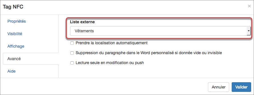 Sélection de la liste externe dans les propriétés du champ Tag NFC.