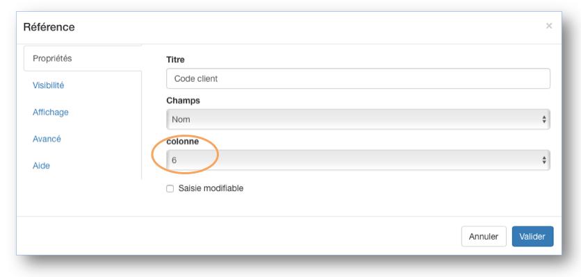 Paramétrez autant de champs références que de colonnes présentent dans votre document.