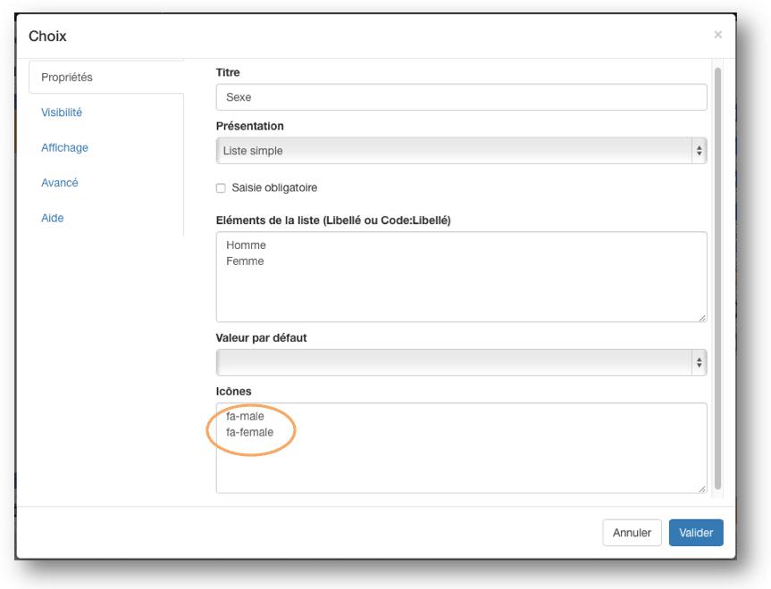 Les paramètres d'insertion d'une icône.