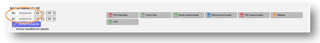 Définissez vos dates d'export.