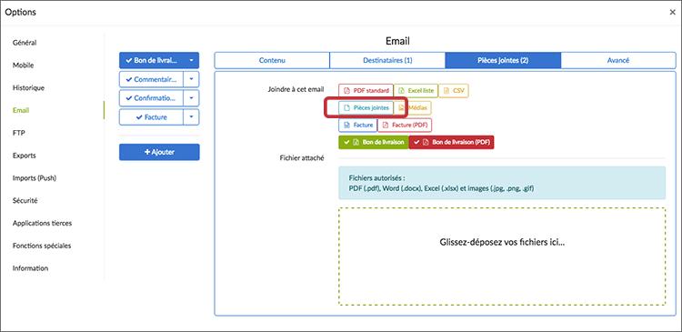 Votre pièce jointe peut aussi être envoyée par email.