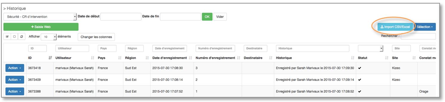 Cliquez sur le bouton Import CSV/excel.
