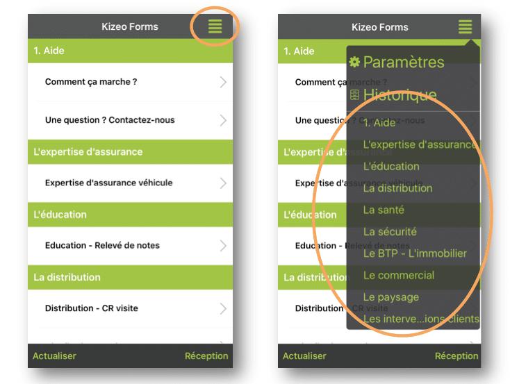 Les rubriques apparaissent également sur le mobile et la tablette.