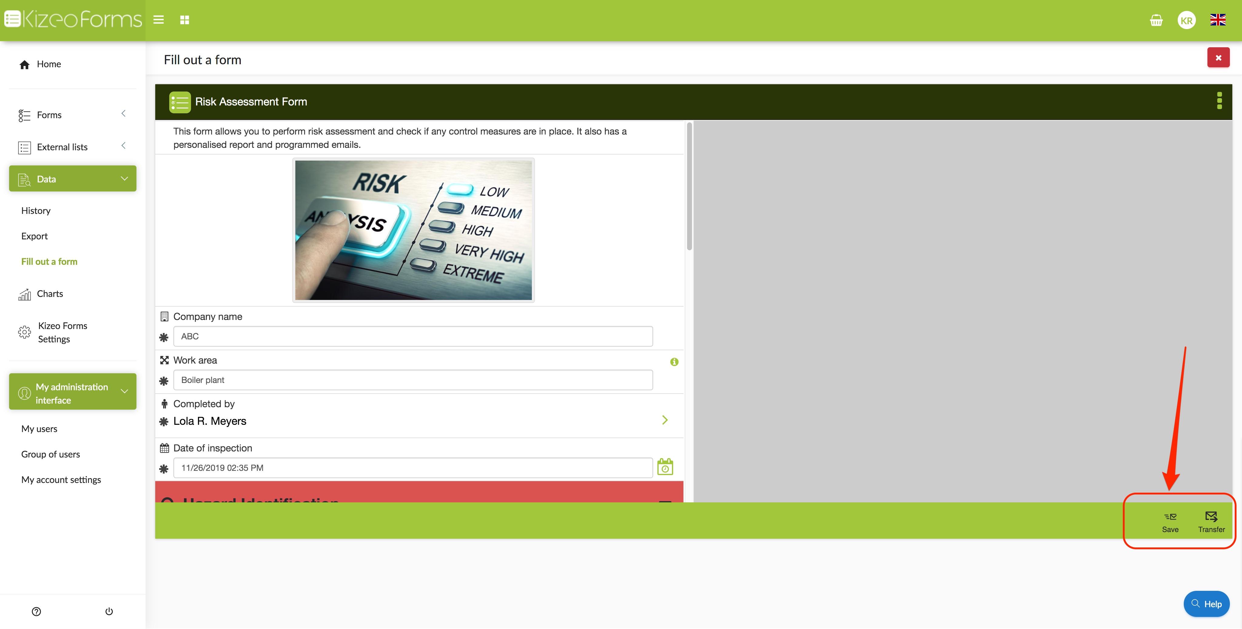 save or transfer form on the online platform