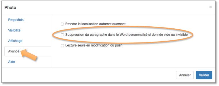 Suppression du paragraphe dans le Word personnalisé si donnée vide ou invisible.