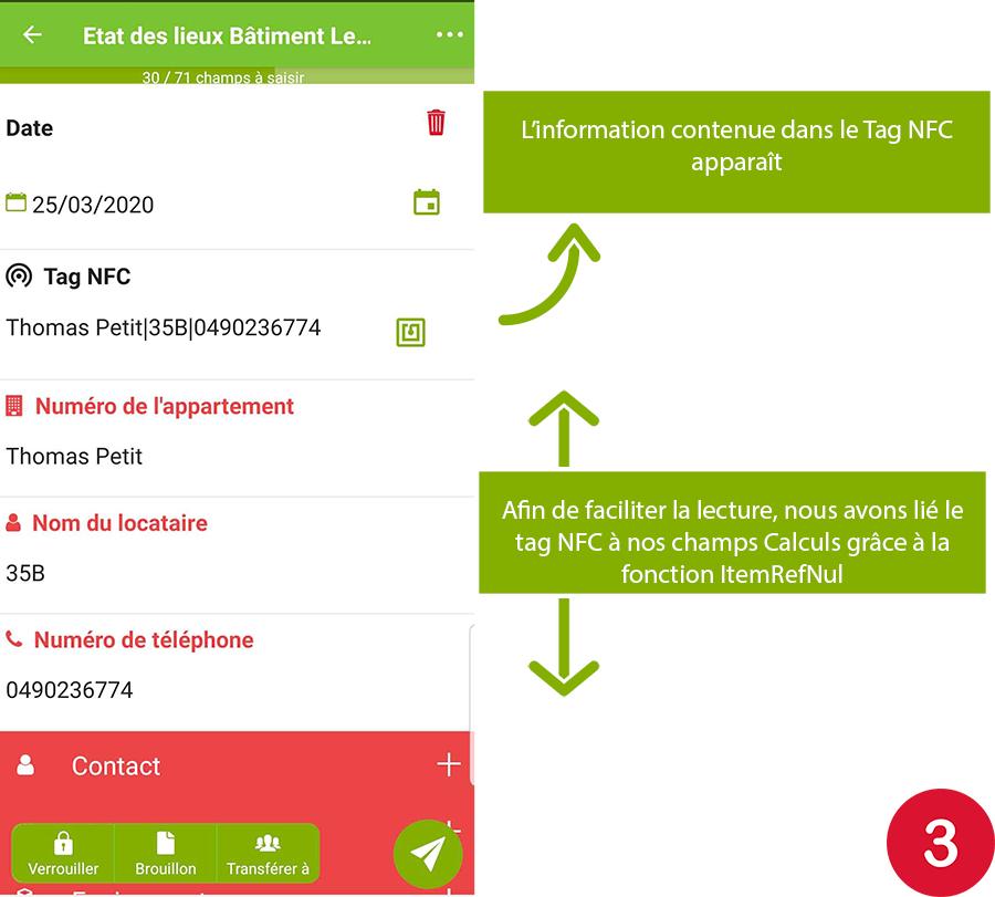 la fonction ItemRefNum du champ Calcul nous permet de venir chercher une information dans une colonne présente dans le tag NFC