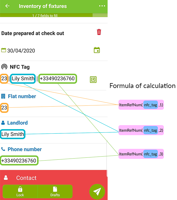 The information contained in the NFC Tag will appear in the field and in your Calculation fields