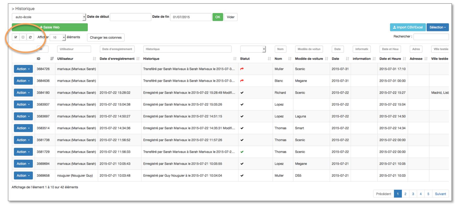 Vous pouvez sélectionner ou désélectionner toutes vos données en même temps.