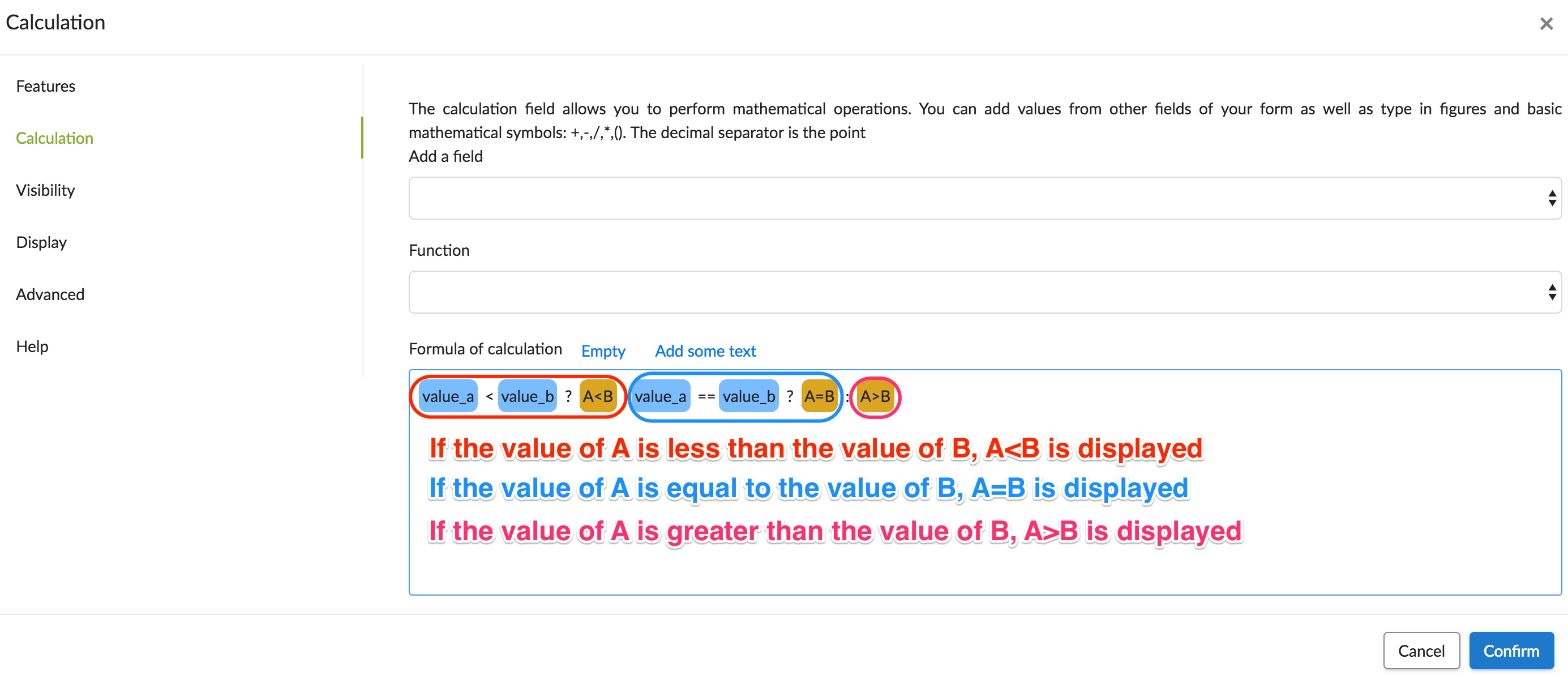 value equal to greater than or lesser than