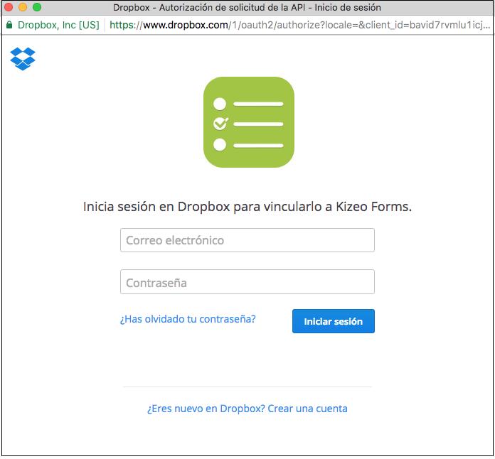 Vincular Kizeo Forms con Dropbox