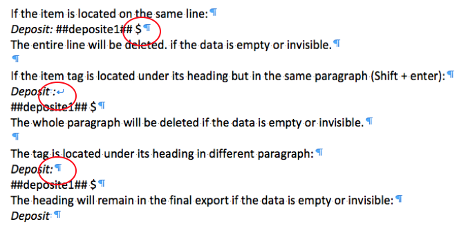 A preview in Word with the ¶ option using various possible entries: