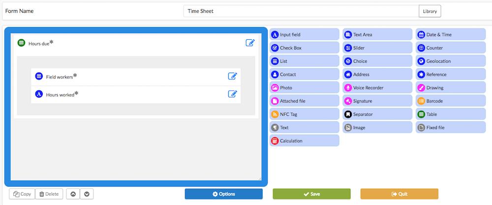 Create a time sheet form