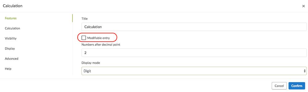 Editable data entry option